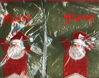 Vintage Christmas Santa in Chimney Made in Japan Stocking New in Package
