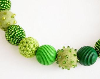 Collier handmade beads green OOAK