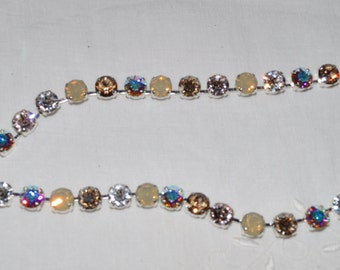 Swarovski Crystal Choker Necklace ~ Silky ~ Silk, Sand Opal, Crystal AB and Crystal Bronze Shade 8mm in Silver Plated Setting