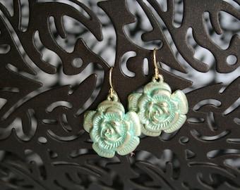 Hand painted gold/sea green flower earrings