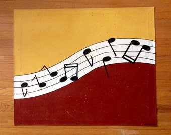 Painted Canvas Floorcloth with Music