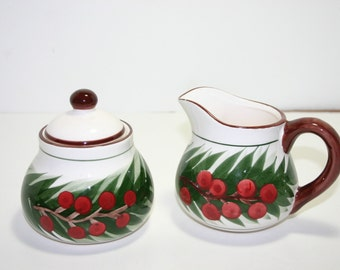 Vintage Christmas ceramic sugar and creamer set
