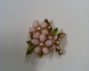 Pink Moonstone flower Brooch signed ART