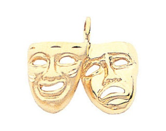 14K Yellow Gold Theater Pendant, Theater Pendant, Theatre, Theater Jewelry, Comedy Jewelry, Tragic Jewelry, Mask Jewelry, Drama Jewelry