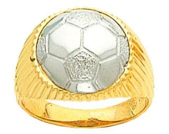 14k gold two tone men's soccer ring.
