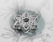 Floral 2 sided Star of David necklace,Silver lucky charm, Magical silver pendant, Star of david charm, Silver amulet