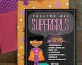 Supergirl Birthday Party Invitation - Sophia