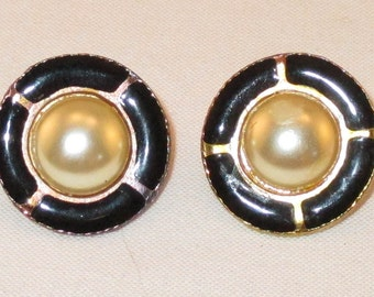 Vintage Goldtone Button Post Earrings w/ Faux Pearl & Black Enamel