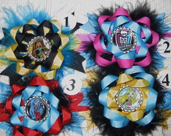 Monster High Feather Bottle Cap Hair Bow Clips