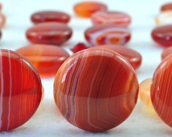 21 pcs of Banded Agate smooth flat coin beads in 18mm