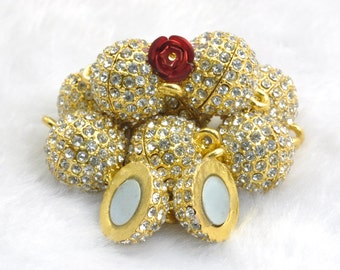 6 Sets of Gold plated Crystal Magnetic Clasp in 14mmwideX 21mm length