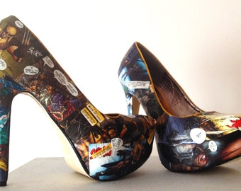 Wolverine Comic Heels. Marvel. Avengers. Superhero Custom Made to Order One of a Kind Shoes