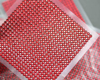 3mm Red Ruby Stick On Acrylic Rhinestone Sheets Stickers - 625 Self Adhesive Gems
