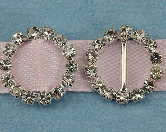 15mm Round Crystal Rhinestone Ribbon Buckles For Card Making And DIY Wedding Invitations - 10 Pieces