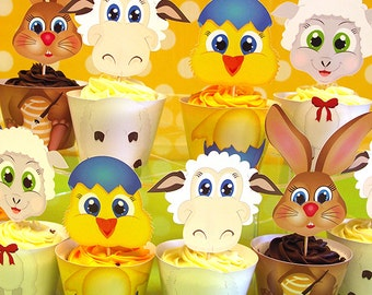 Easter Character Cupcake Wrappers