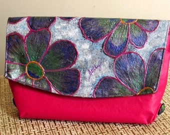 Hand crafted Fuschia Floral Clutch