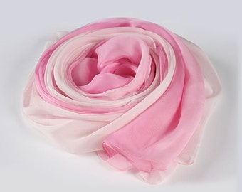 Pink Silk Scarf - Gradient Color Scarf - Light Pink to Bright Pink Gradient Scarf - AS206-4