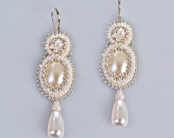 Lucia pearl and crystal elegant bridal earrings sterling silver earwires