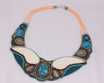 Bead embroidered Flying Wings Necklace.