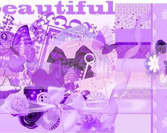 Beautiful Purple Scrapbooking Kit