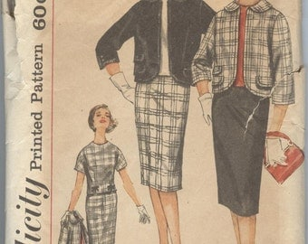 1960s Suit Pattern Simplicity Sewing Pattern 3579 Slim Skirt Jacket Blouse Vintage Womens Sewing Patterns Size 14