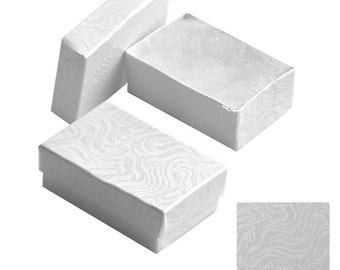 """New 100 White swirl Cotton Filled Jewelry Gift Boxes 2 5/8"""" x 1 1/2"""" x 1"""""""