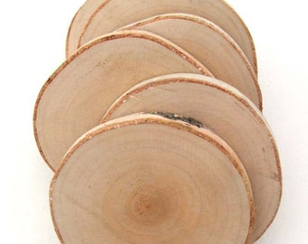 natural birch wood coasters ... set of 6, natural gift, eco gift, wood coasters, birch coasters