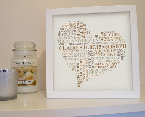 framed song lyrics print first dance print wedding vows framed personalised word art