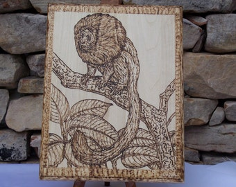 Monkey In Jungle Woodburning Pyrography