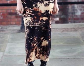 Black Punk/Grunge Acid Wash Long Maxi Skirt