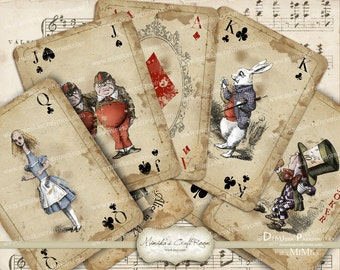 Alice in Wonderland playing cards printable digital collage sheet