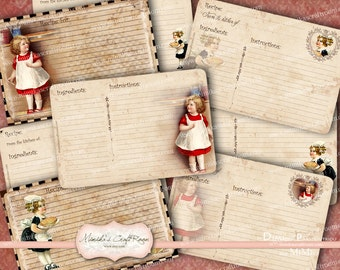 Printable Recipe Cards Instant Download Digital Collage Sheet - KITCHEN GIRLS
