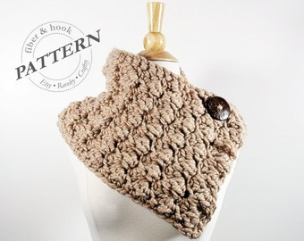 CROCHET PATTERN - Chunky Textured Cowl Pattern, Button Cowl Pattern, Chunky Cowl Pattern, Chunky Scarf Pattern, Chunky Crochet, pdf #003S