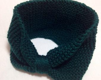 CLEARANCE - Dark Green Knitted Earwarmer - Forest Green Ear Warmer