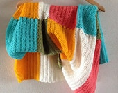 """Summer colorblock blanket, 37.4"""" x 35.4"""", in the colors yellow, blue, green, white and coral"""
