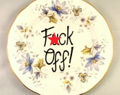 F*ck Off Adult Humor Vintage Bone China Floral Side Plate Decorative Rude Gift Pretty Funny Present for Her Flowery Mature Garbage Ring Box