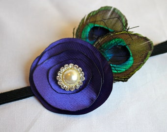 Satin Lollipop Flower headband with peacock feathers, french netting, and Rhinestone or Pearl Center Stone