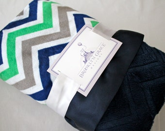 Kelly Green, Navy and White Chevron Minky Blanket, Boy or Girl, Embossed Chevron in Navy, Nautical, Navy Satin, Embroidery, Personalization