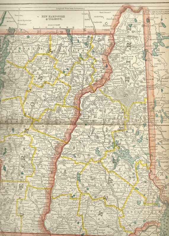 Vintage Vermont And New Hampshire Map Antique US - Us map 1890