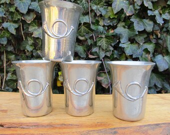 Vintage 1980's K and S Hand Crafted Pewter Cups - Set of of Handcrafted Pewter Hunt Cups