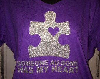 Women's Someone Au-some Has My Heart Glitter Shirt