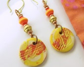 BACK2SCHOOL SALE!  Orange, red, yellow, and gold polymer clay earrings with brass and copper wire and beads