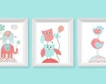 Aqua and Coral Nursery Art Birds Elephants Owls Girl's Room Decor Playroom Wall Art Baby Shower Gift Toddler Baby Canvas Print Set Baby Girl
