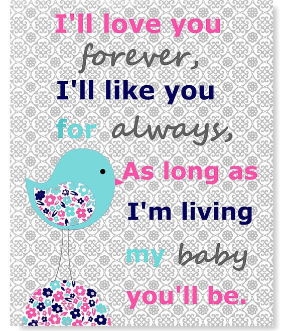 I Ll Love You Forever Quote: Items Similar To I'll Love You Forever Nursery Art Quote