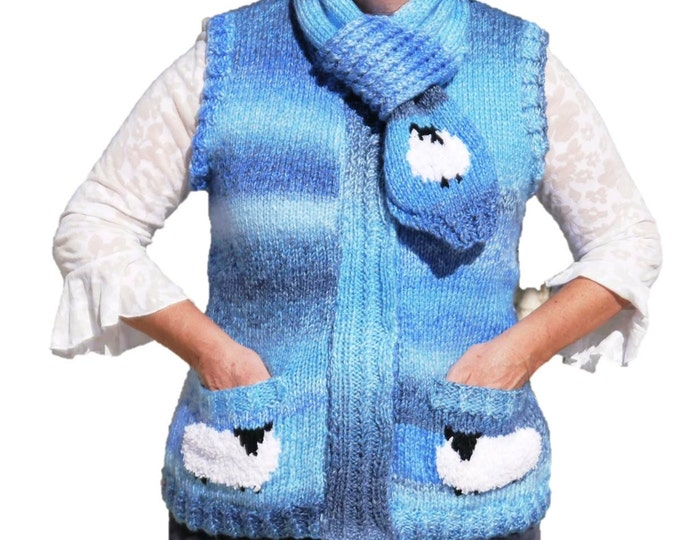 Ladies Sheep Waistcoat and Scarf Knitting Pattern,  Waistcoat and Scarf Knitting Pattern,  Chunky Knitting Pattern, Chunky Waistcoat-Scarf