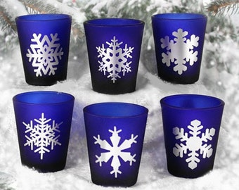 Snowflakes Blue Shot Glass Set- 6 Glasses