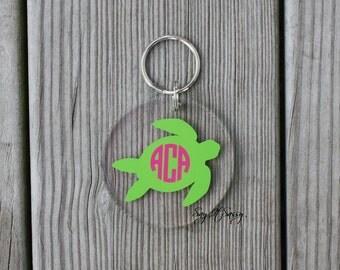 Turtle Circle Monogram Keychain Acrylic Personalized Key Chain
