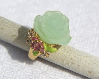 Green Plastic Rose Ring with Rhinestones from the Eighties