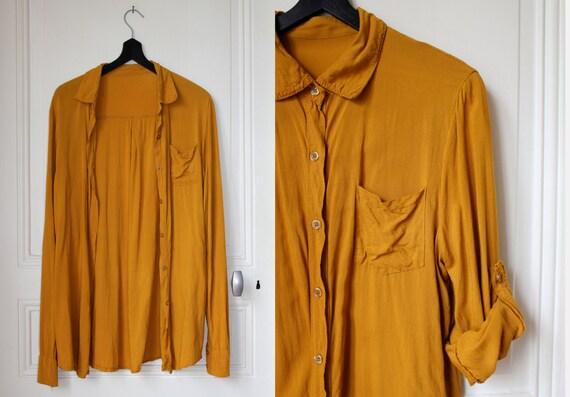 80 chemise moutarde roll up sleeves ocre jaune orang. Black Bedroom Furniture Sets. Home Design Ideas