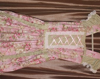 Lolita onepiece dress or jumperskirt corset lacing and cap sleeves,